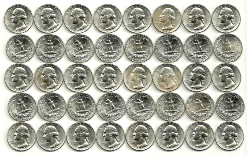 1 Roll (40 coins)___1962-P  Washington Quarters__90% Silver__BU/UNC___#1921LD13