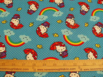 COTTON Fabric Sanrio Hello Kitty Somewhere Over The Rainbow BTY