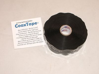 Coax Tape 20milx1x36 Black Self-fusing Silicone Rescue Repair Cable Wrap Seal