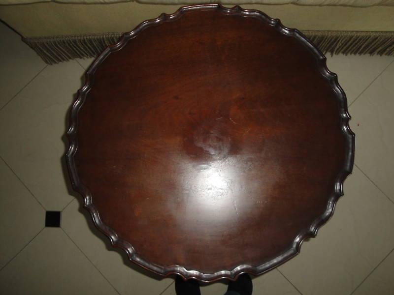 Vintage 19c Queen Anne Mahogany Pie Crust Tilt Top Tea Wood Table Antique