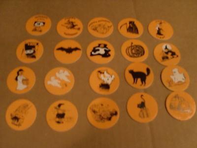 HALLOWEEN ORANGE POGS   SET of  20 WITCHES, CATS GHOSTS ETC (20 Halloween Games)