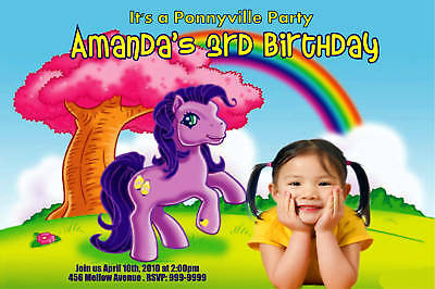 Personalized My Little Pony Photo Birthday Invitation