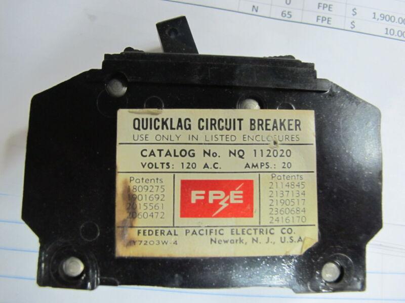 FPE NQ112020, 1 Pole 20 Amp Circuit Breaker- WARRANTY