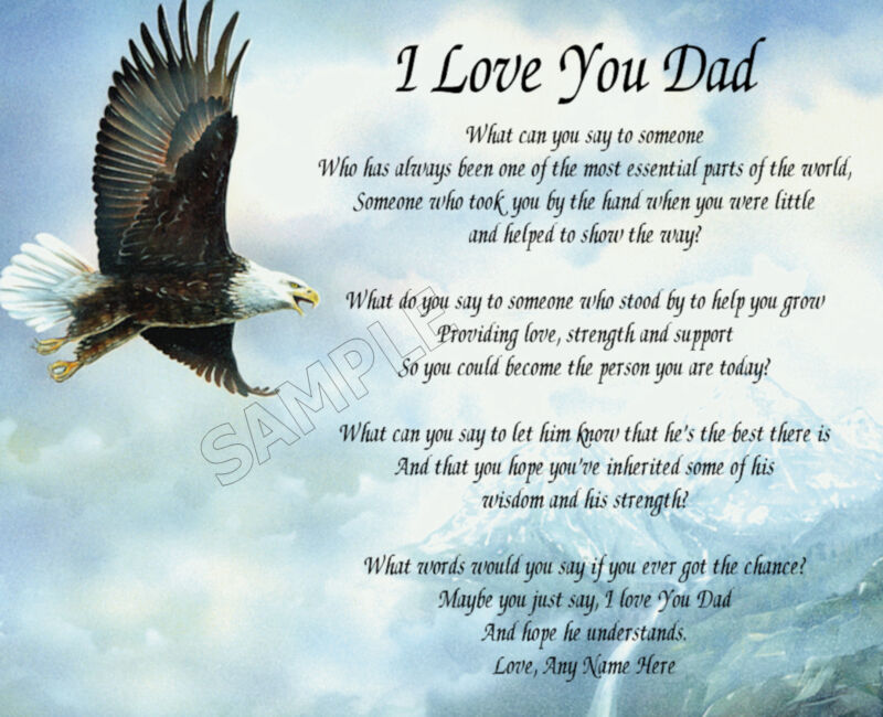 I LOVE YOU DAD PERSONALIZED ART POEM MEMORY BIRTHDAY FATHER