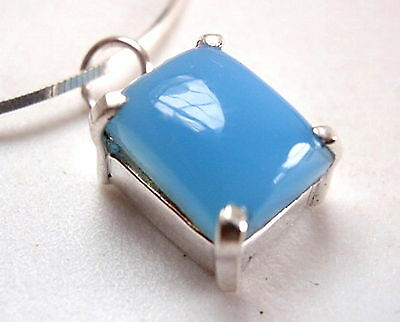 Chalcedony Pendant Rectangle Four-Prong 925 Sterling Silver New 3.75ct