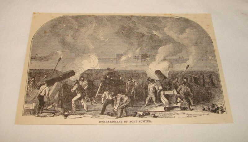 1885 magazine engraving ~ BOMBARDMENT OF FORT SUMTER, SC