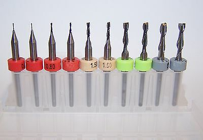 Micro Machining Kit - 10 New Carbide Endmills - Metric