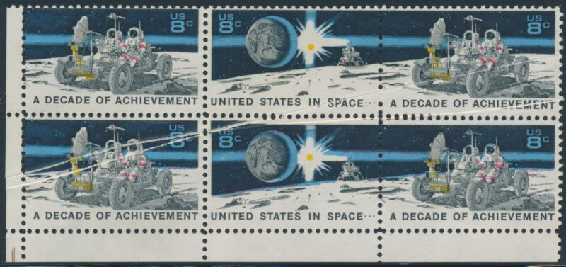 """#1434-35 Var. """"space"""" Block Of 6 With Pre-print Paper Fold On 5 Stamps Bp1640"""