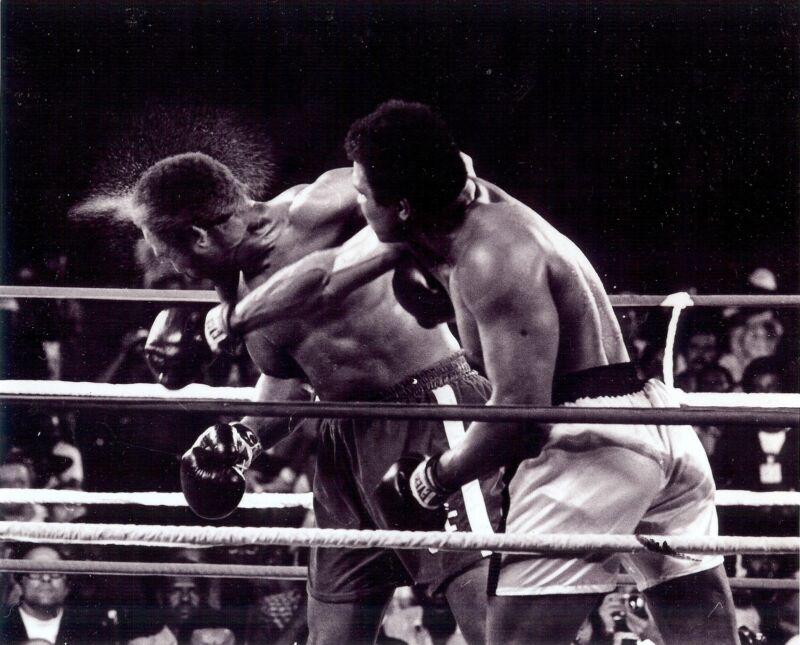 Muhammad Ali 8x10 glossy black & photo knocking out George Foreman
