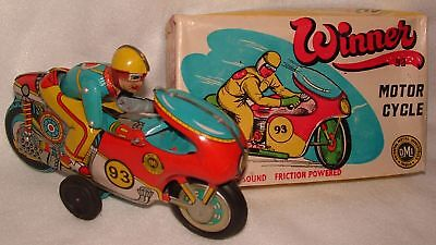 """ORIGINAL 1970's WINNER 93 TIN MOTORCYCLE 8""""LONG wUP&DOWN RIDER by OMI NEW IN BOX"""