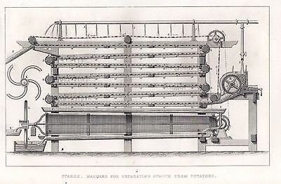 Stärke-maschine (1851 Viktorianisches Aufdruck ~Stärke~ Maschine für Trennung Stärke von Potatoes)