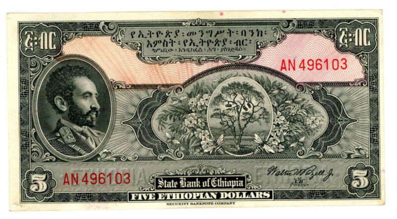 Ethiopia ... P-13c ... 5  Dollars ... ND(1945) ... *AU/UNC* ... SIGN :3