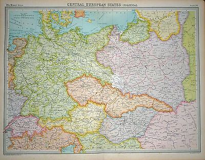 1920 LARGE MAP ~ CENTRAL EUROPEAN STATES ~ POLITICAL~ 23