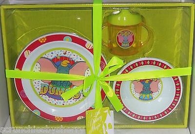 Disney Dumbo Plate Bowl Cup Gift Set Theme Park Elephant Child Baby Shower New - Disney Themed Baby Shower