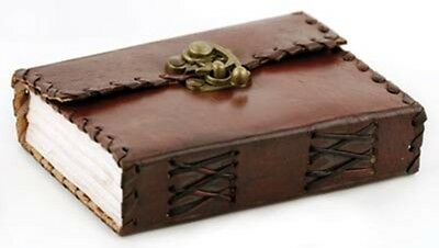 Small Leather HANDMADE BLANK BOOK Pocket Journal Diary Poetry w/ Latch