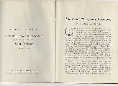Rare 1908 16-page Ethel Barrymore Following Broadway New York City NYC brochure