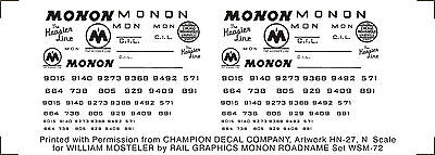 Monon road name decals (for 40' box cars), in white, in S-scale