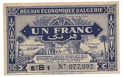 Algeria Region 1944 Ww2 Economique Rare 1 One Franc Bank Note B1