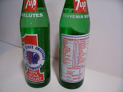 7-up --Indiana State  University Basketball --1979 soda bottle-Larry Bird years