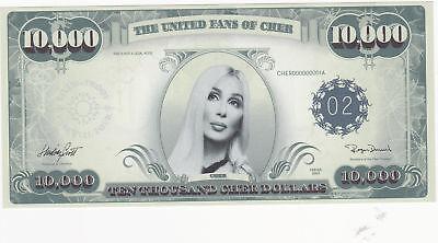 """CHER  """"FAREWELL TOUR""""   10,000 CHER DOLLAR BILL  ~MINT~"""