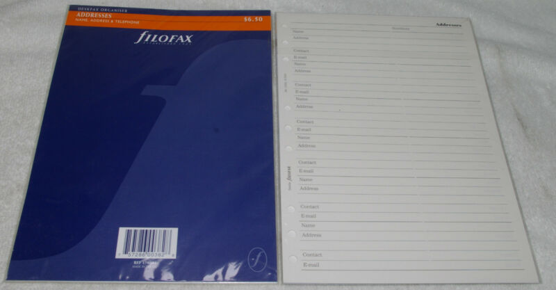 2 packs FILOFAX DESKFAX ADDRESSES Name number Phone Insert Refill Organizer