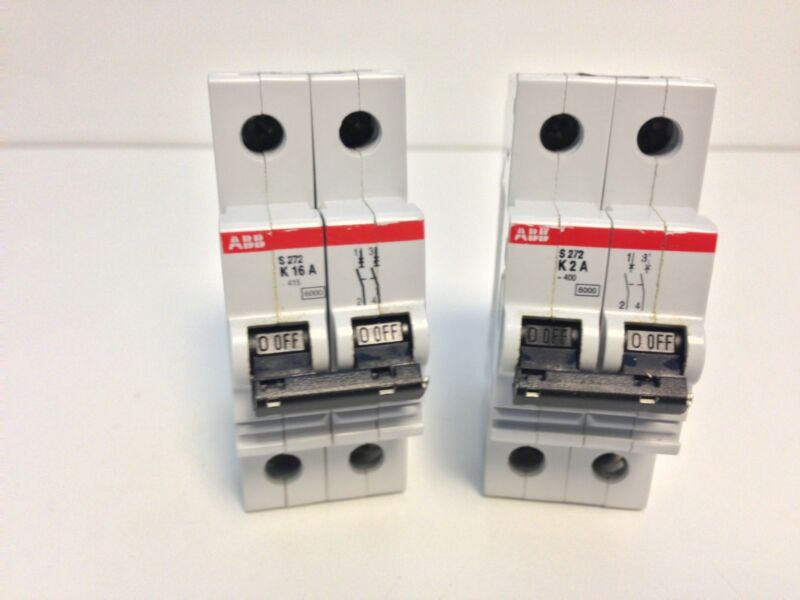 GUARANTEED! LOT 2 ABB CIRCUIT BREAKERS (1) S272K2A (1) S272K16A