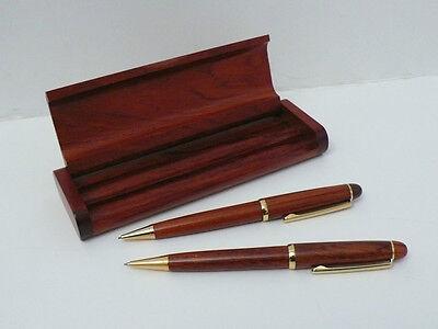 - Solid Wood Genuine Rosewood Ball Pen & Pencil in Rosewood Pen Box Set