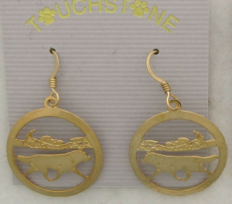 Siberian Husky Jewelry Gold Dangle Scene Earrings