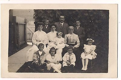 RPPC GROUCHY GRANDMA Family Group Pic Vintage POSTCARD Children Sailor Suits  ()