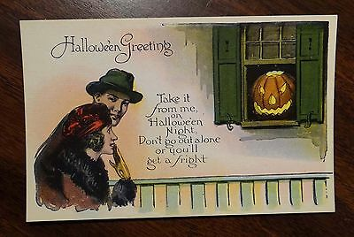 HALLOWEEN Postcard SCARY JACK-O-LANTERN IN WINDOW DON'T GO OUT ALONE 1920s - 1920s Halloween Scary