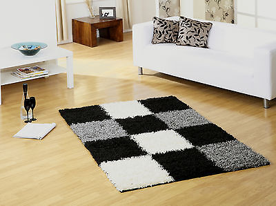EXTRA LARGE THICK GREY IVORY WHITE BLACK SQUARES BLOCKS SHAGGY RUG 160x230 - Ivory Square Teppich