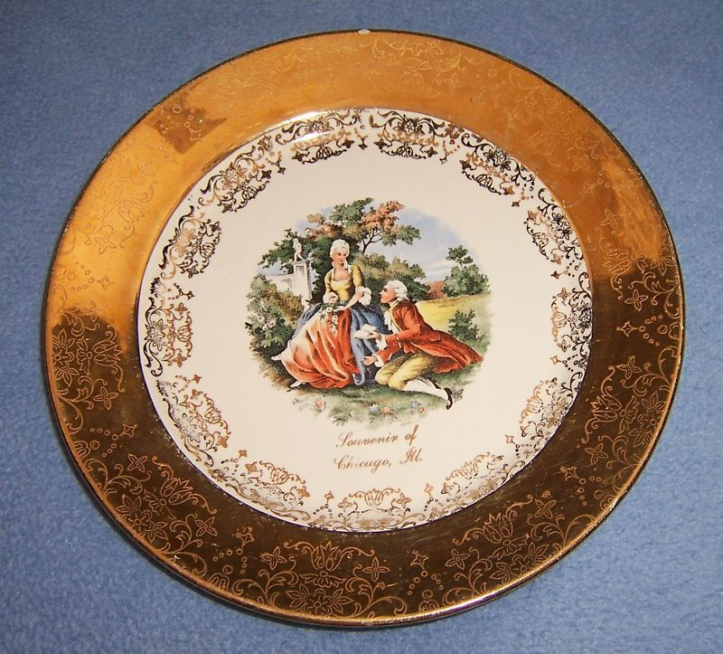Vtg Souvenir Plate SABIN Chicago 1930-1940 22K couple mcuh gold trim 7+ dia