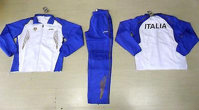1046L Traje ASICS Italia Fidal Federación Atletismo Ligero Tracksuit Running