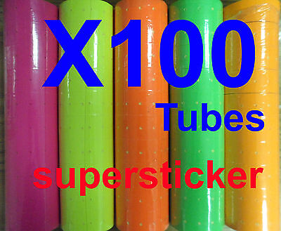 100 Tubes Colors X 500 Tags Labels Refill For Mx M L-5500 Mx 989 Motex Price Gun