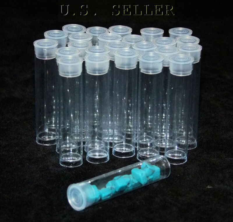 PACK OF 25 ROUND CLEAR PLASTIC STORAGE TUBES 2""
