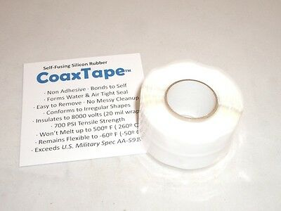 Coax Tape 20milx1x10 White Self-fusing Silicone Rescue Repair Cable Wrap Seal