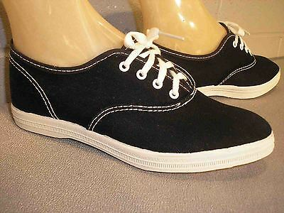 4.5 Child NOS Vtg 70s Skamps BLACK CANVAS POINTED TOE TENNIS SNEAKER Gym Shoe