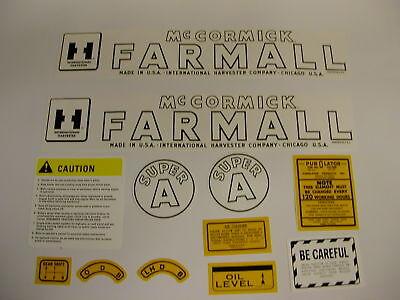Ih International Mccormick Farmall Model Super A Tractor Decal Set
