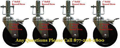 "4 New 5"" Perry Scaffolding 1"" diameter Round Stem Wheel"