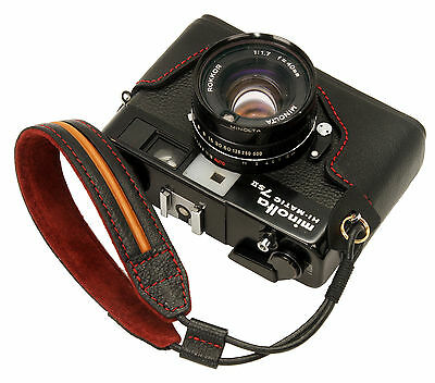 Genuine leather half case & Wrist strap for minolta Hi-Matic 7sII / Black / 7s2