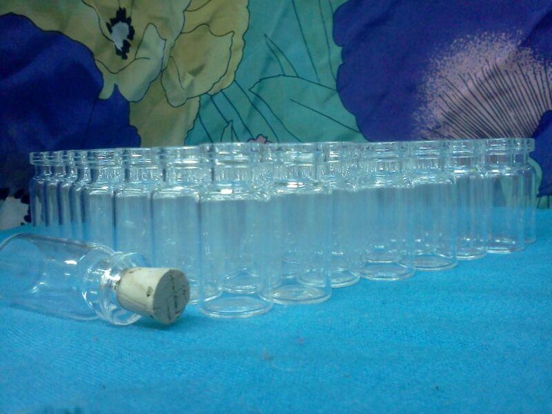 SET(100)Glass vial small mini bottles, w/ CORKs pendant potion charm necklace