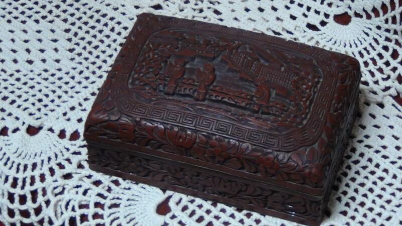 ANTIQUE 18C VERY OLD QIANLONG REIGN PERIOD CINNABAR BOX