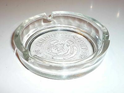 "Malaysia GUINNESS STOUT Glass ASHTRAY Clear BULLDOG RARE 4"" Dia RARE 1996"