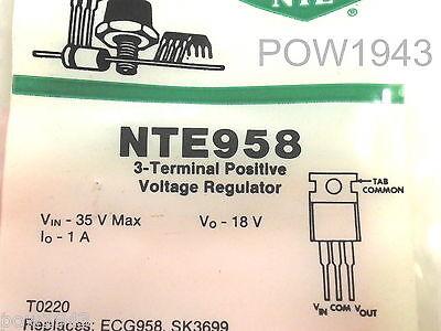 4 Pc. Nte 958 Pos. Voltage Regulator 18v 1 Amp To-220