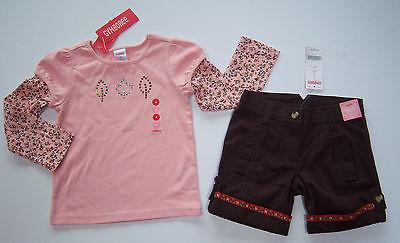 NWT Gymboree Harvest Leaves 4 4T Pink Rhinestone Leaf Floral Tee & Ribbon Shorts