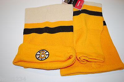 Reebok Embroidered Logo NHL Hockey Sock Knit Hat Beanie Boston Bruins OSFM