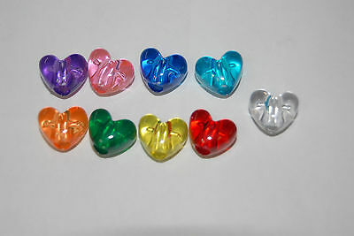 45 Heart Shaped Transparent Beads U Pick Color USA Hair Rave Kandi Acrylic Beads