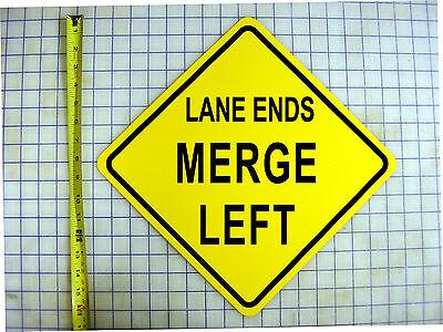 LANE ENDS MERGE LEFT YELLOW ALUMINUM (Left Lane Ends)