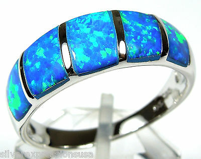 High Quality Blue Fire Opal Inlay Genuine 925 Sterling Silver Band Ring sz 6-9 Blue Opal Inlay Ring