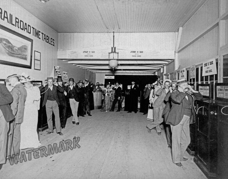 Photograph of the Thomas Edison Automatic Phonograph Arcade  Year 1895c 8x10